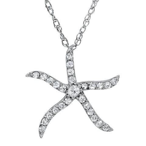 "1/4ct Diamond Starfish Pendant 10K White Gold W/ 18"" Chain"
