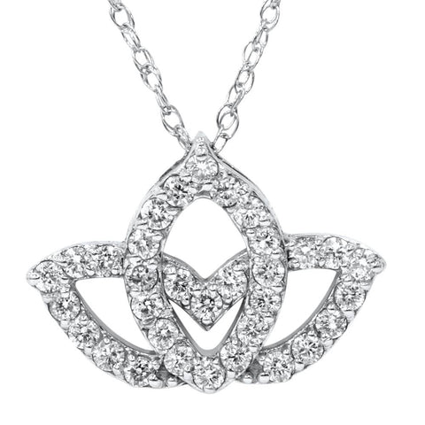 3/8ct Diamond Lotus Flower Pendant Necklace 14K White Gold