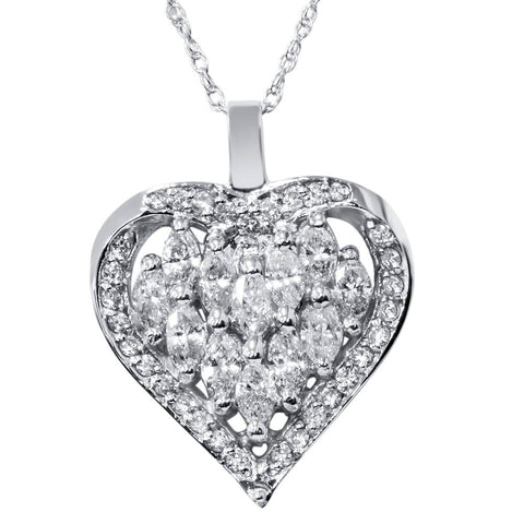 1 1/4ct Heart Shape Marquise Diamond Pendant 14K White Gold