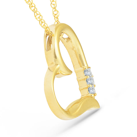 "Princes Cut Diamond 3-Stone 10K Yellow Gold 18"" Chain 3/4"" Tall Womens Necklace"