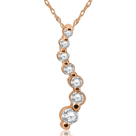 1/2ct Diamond Journey Pendant 14K Rose Gold Womens Jewelry Necklace