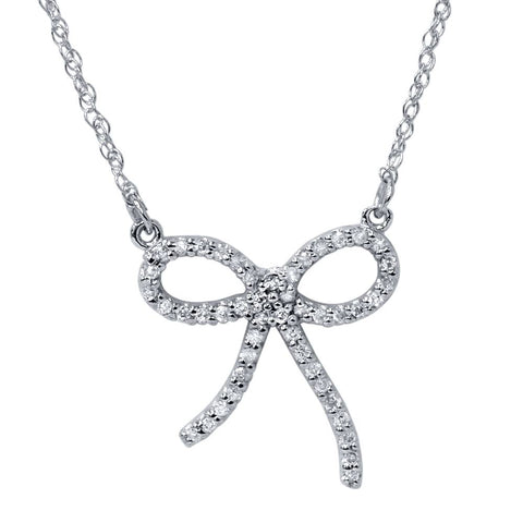 1/8ct Petite Diamond Ribbon Pendant 14K White Gold