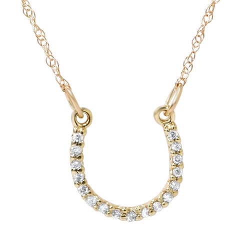 1/10ct Petite 14k Yellow Gold Diamond Horseshoe Pendant
