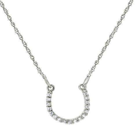 1/10ct Petite 14k White Gold Diamond Horseshoe Pendant