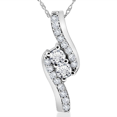 "3/4Ct Forever Us Two Stone Genuine Diamond Pendant 10K White Gold & 18"" Chain"