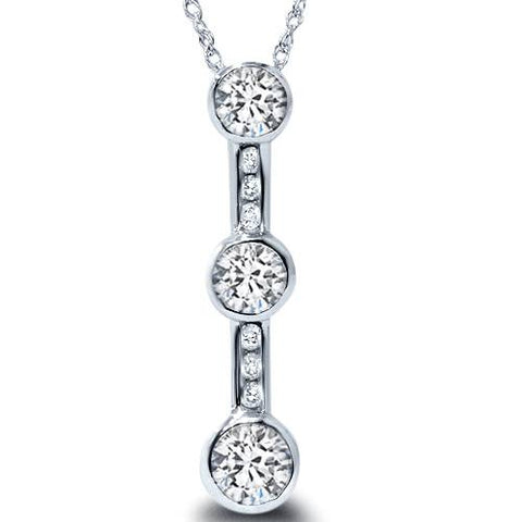1 1/4ct Past Present Future Diamond Pendant Necklace 14K