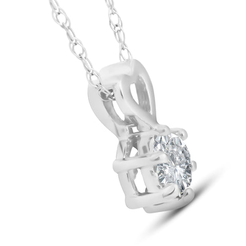 3/8ct Solitaire Diamond Heart Pendant Necklace 14K White Gold