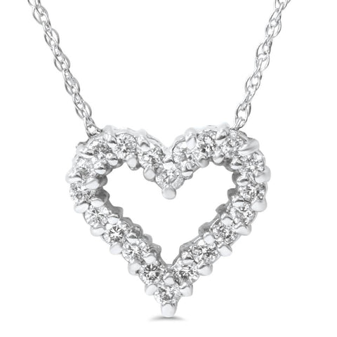 1/2ct Diamond Heart Pendant 14K White Gold