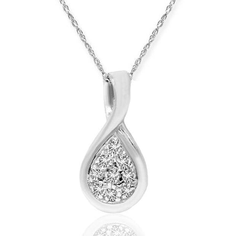 1/10ct Pave Tear Drop Solitaire Diamond Pendant 10K White Gold