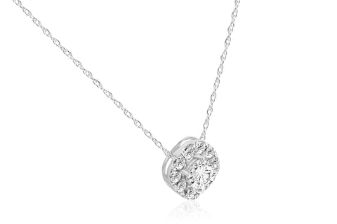 5/8ct Cushion Halo Round Diamond Pendant 14K White Gold