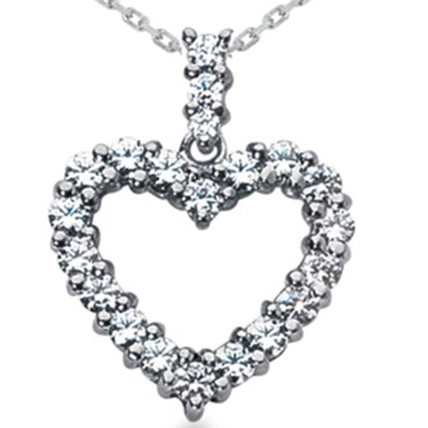 2ct HUGE Diamond Heart Pendant 14K White Gold