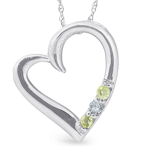 "Diamond & Peridot Heart Pendant 3-Stone 10K White Gold with 18"" Chain"