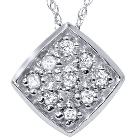 1/5ct Pave Diamond Cluster Pendant 14K White Gold