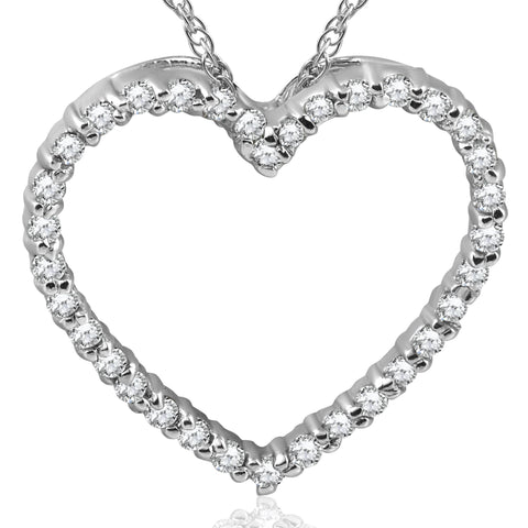 14K White Gold 1/2ct Diamond Heart Pendant Necklace