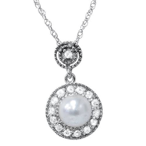 Diamond & Pearl Gatsby Vintage Style Dangle Pendant 14K White Gold