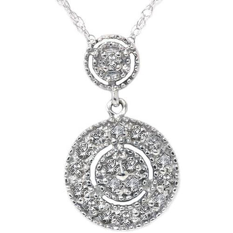 1/4ct Diamond Halo Dangle Pendant White Gold