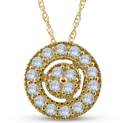 "1/4 ct Diamond Pave Halo Pendant Yellow Gold Womens Necklace & 18"" Chain"