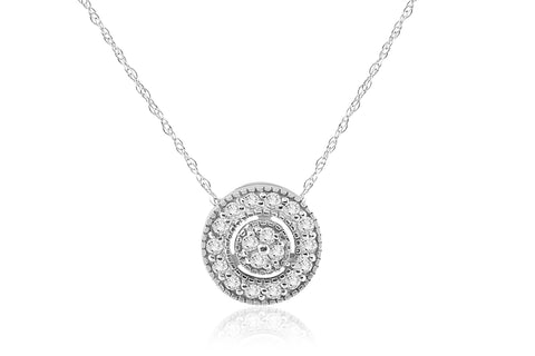 "G/SI 1/4 ct Diamond Pave Halo Pendant 14K White Gold Womens Necklace & 18"" Chain"