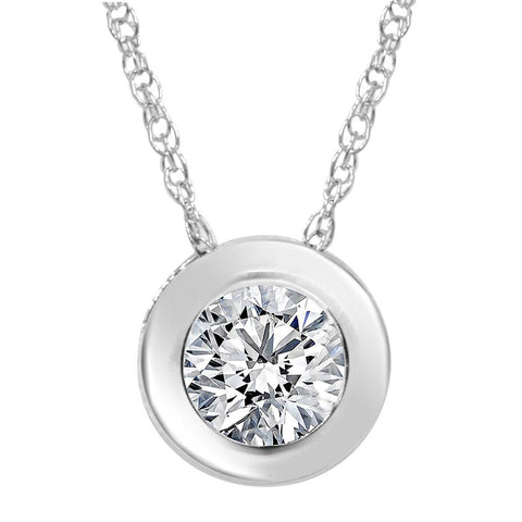 1/2ct Solitaire Bezel Diamond Pendant 14K White Gold