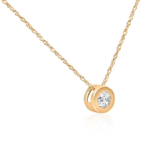 G/VS 14K Gold 1/4ct Round Lab Created Diamond Solitaire Bezel Pendant Necklace