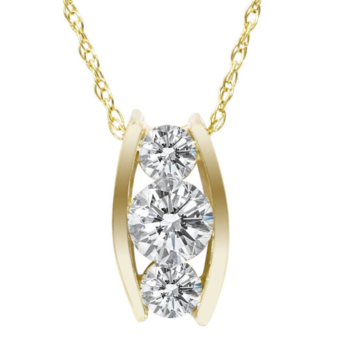 1/2ct Three Stone 3 Diamond Pendant 14K Yellow Gold