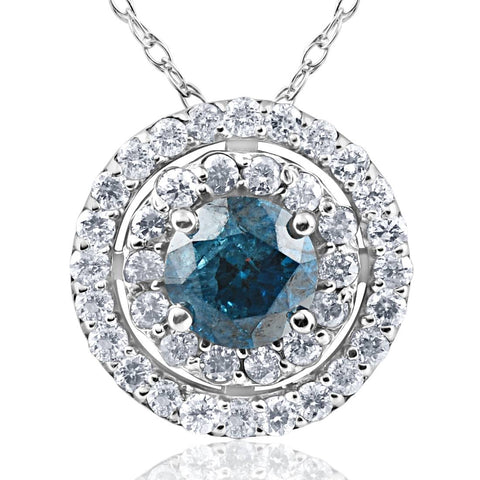 1 1/4 ct Treated Blue Diamond & White Diamond Double Halo Pendant 14K White Gold