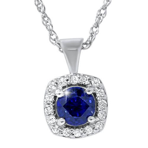 3/4ct Blue Sapphire & Diamond Halo Pendant 14K White Gold
