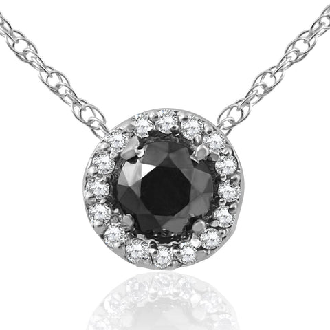 1/2 ct Black & White Diamond Pave Halo Solitaire Pendant 14K White Gold Treated