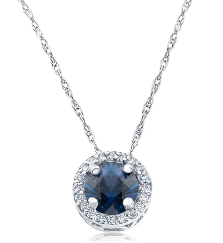 1/2ct Blue Sapphire & Diamond Halo Vintage Pendant 14k White Gold & 18""