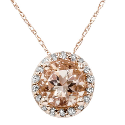 1 7/8 ct Morganite & Diamond Halo Pendant 14K Rose Gold
