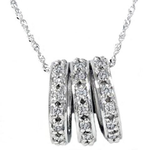 1/2ct 14K White Gold Pave Diamond Pendant Necklace
