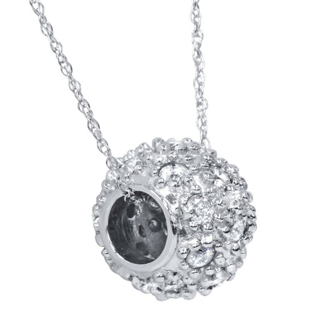 1ct Diamond Pave Puff Slide Pendant 10K White Gold Necklace