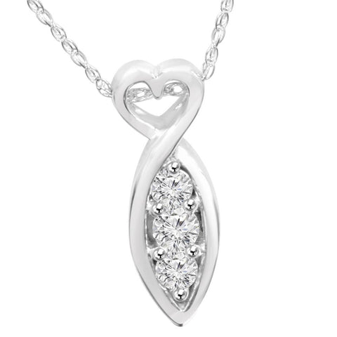 1/2ct Past Present Future 3Stone Diamond Pendant 14K White Gold