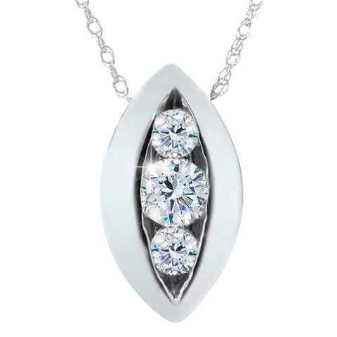 1/2ct Three Stone Past Present Future Diamond Pendant 14K