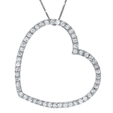 1ct Real Diamond Large Heart Shape Pendant White Gold