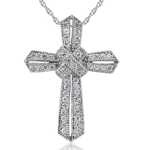 1/2 ct Vintage Real Diamond Cross Pendant 14K White Gold Unique Womens Jewelry