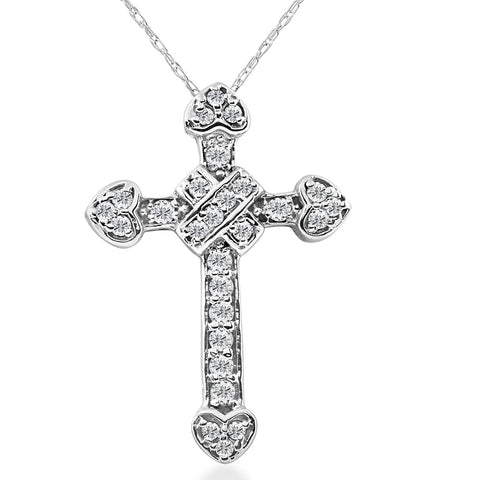 "1/2ct  Vinage Diamond Cross Pendant 14K White Gold With 18"" Chain"