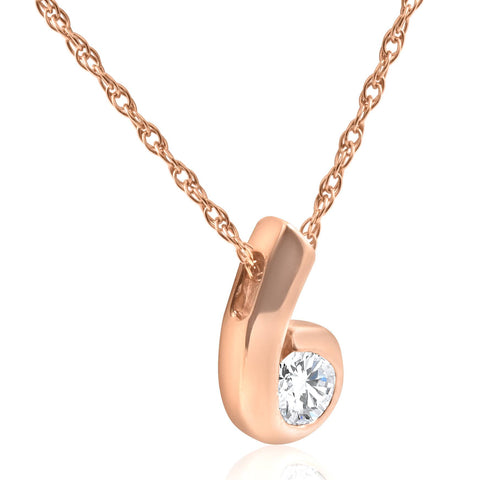 1/4 ct Solitaire Round Brilliant Cut Diamond Pendant 14K Rose Gold