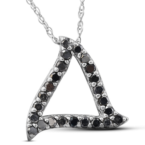 1/4ct Black Diamond Pendant White Gold Triangle
