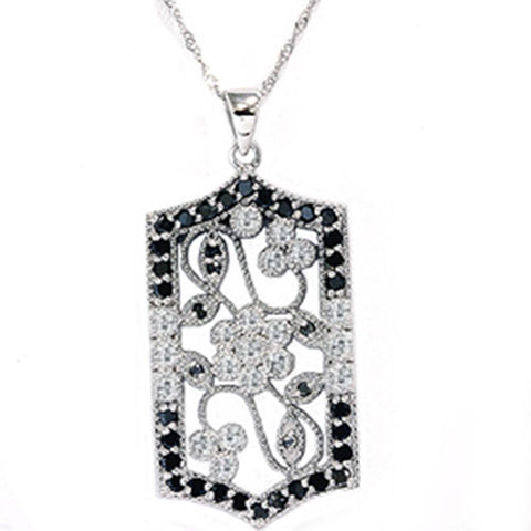 1ct Black & White Diamond Vintage White Gold Pendant