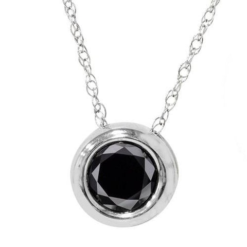 1 1/10ct Black Bezel Solitaire Pendant 14K White Gold