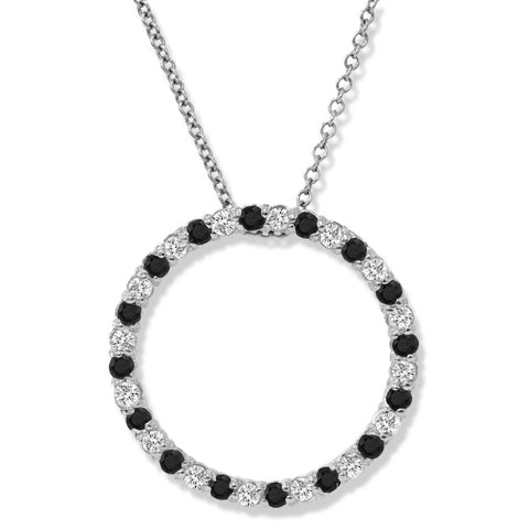 1/2Ct Treated Black & White Diamond 10K White Gold Circle Pendant Necklace Eternity
