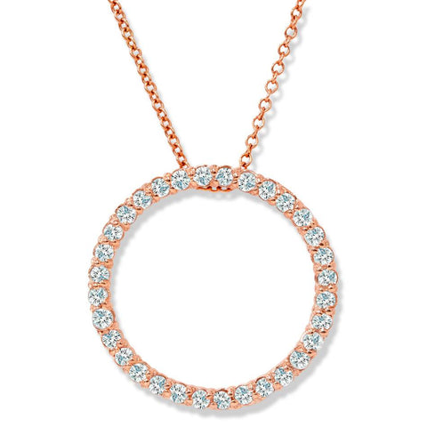1/2ct Circle Diamond Pendant 14K Rose Gold