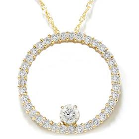 1 1/2ct Circle Of Life Diamond Pendant 14K Yellow Gold