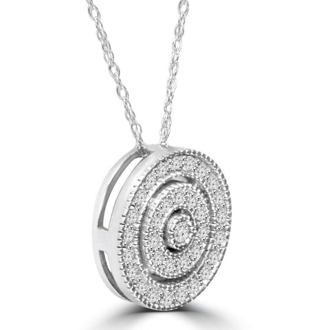 White Gold 3/8ct Filigree Pave Circle Antique Pendant