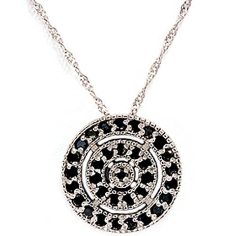 1/5ct Black Diamond Pave Circle Antique Pendant