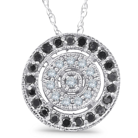 10K White Gold1/3ct Black & White Diamond Fancy Circle Pave Pendant