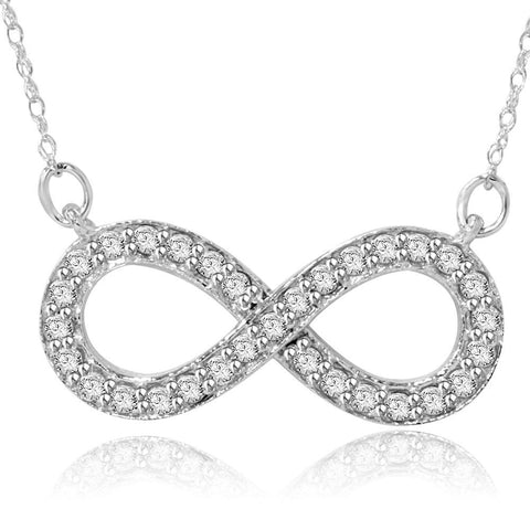 1/3ct Diamond Infinity Symbol Pendant 14K White Gold