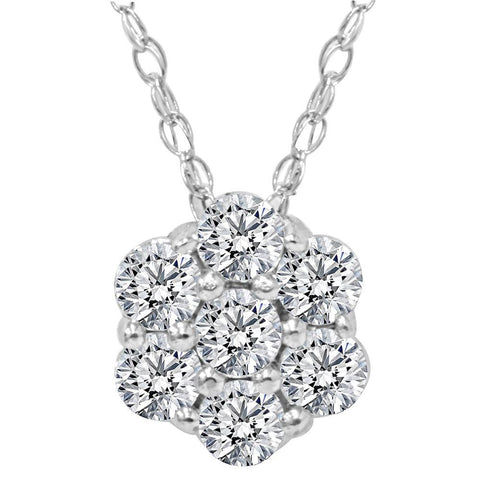 Women's 1/2ct Diamond Solitaire Cluster Pendant Solid 14k White Gold