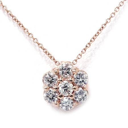 1/2ct Pave Fire Round Real Diamond Solitaire Halo Pendant 14K Rose Gold Neckalce